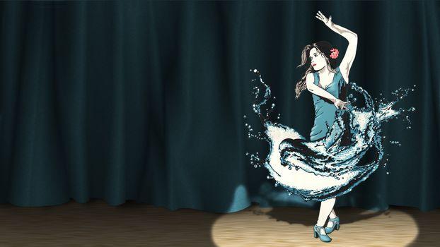 dancer, scene, spotlight