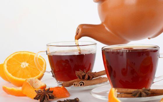 tea, cup, orange, peel, star anise, anise, cinnamon, Sticks, kettle