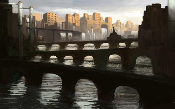 Art, city, bridge, Arch, river, water, waterfalls