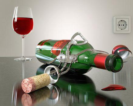вино, бутылка, пробка, бокал