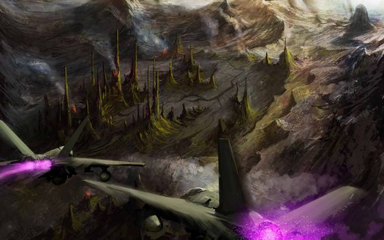 Art, aircraft, fighters, flight, Mountains, city, Tower, ATTACK, rocks