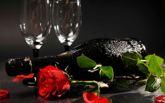 champagne, cups, rose, petals, leaves, Champagne, Cups, Rose, Petals, leaves