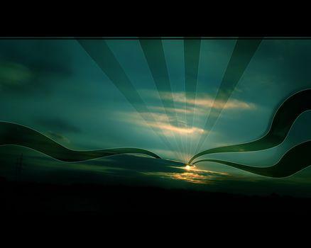 ciel, soleil, Papier peint, nuit