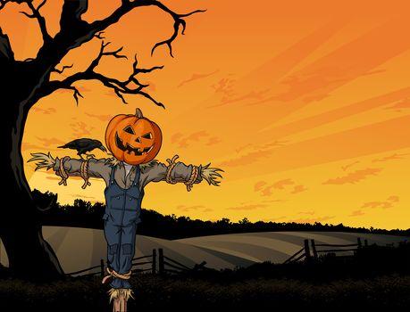 Halloween, scarecrow, pumpkin, crow, tree, field, fright, Horror, creepy
