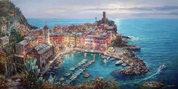 painting, Mediterranean, Vernazza, Italy, berth, Boat, city, home, Cathedral, moonlight