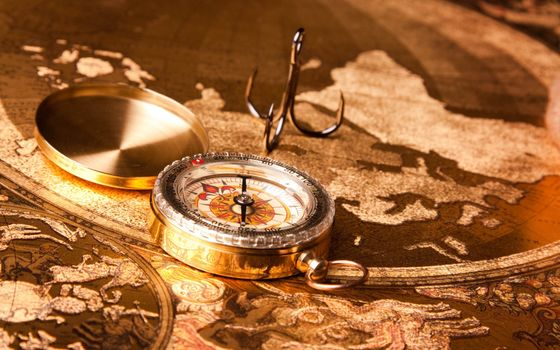 map, continents, compass