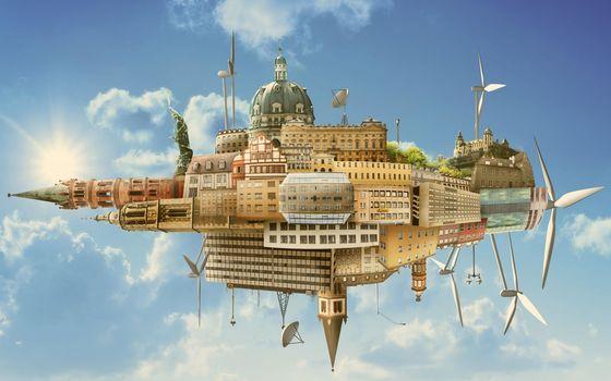city, fantasy, sky
