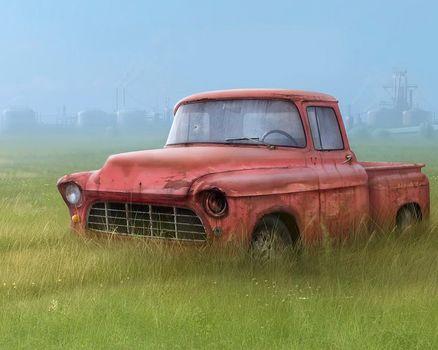 грузовик, трава, рисунок, сломан