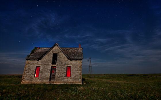 дом, поле, ночь, пейзаж