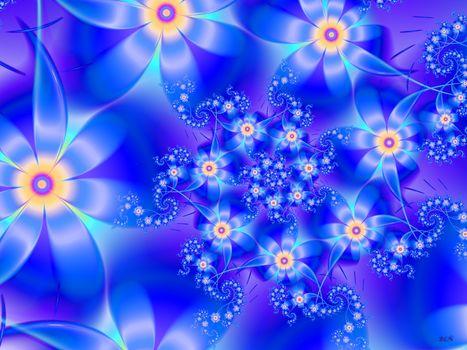 Flowers, Petals, blue