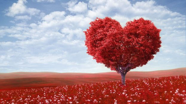 valentine's day, love, romance, Heart, tree, green field, flowers, sky, clouds, Valentine's Day, love, romance, heart, tree, green fields, Flowers, sky, clouds
