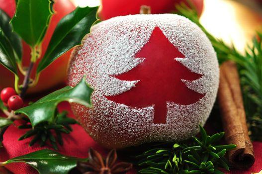 New Year, holiday, table, apple, leaves, cinnamon, needles, Berries, branch, herringbone, New Year