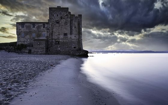море, закат, пейзаж