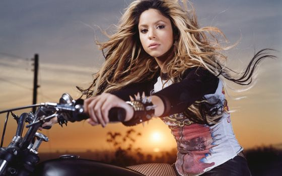 Shakira, singer, dancer, author, songs, composer, musical, producer, photoset, on, motorcycle.