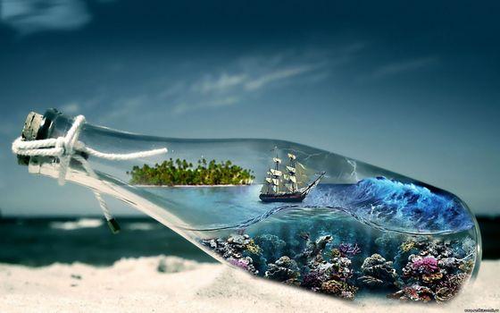 sea, sky, bottle, ship, sand, ocean floor