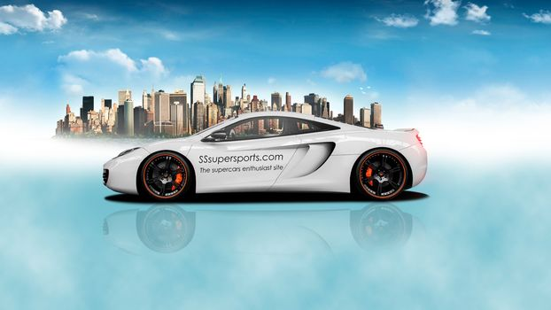 mclaren, mp4-12c, city, fantasy
