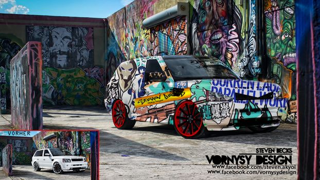 tunning, graffiti, car, abstraction, vornysydesign, rangerover, range