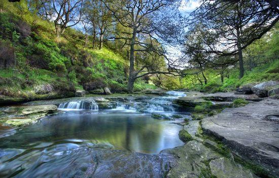 peak district national park, england, National Park Peak District, England, river, Trees, slopes