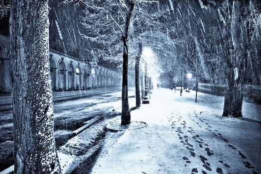 lights, snow, aleykii, Street, night, city