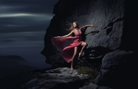 young lady, mountain, dress