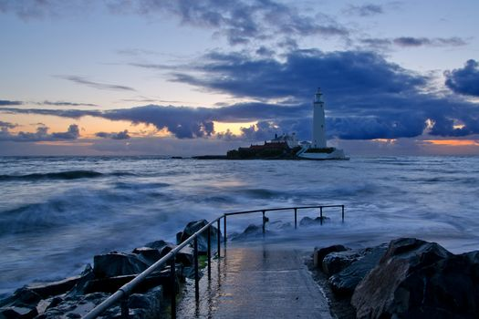 St. Mary's, lighthouse, before, sunrise, Whitley Bay, england, GB