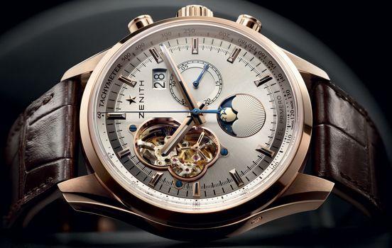 watch, zenith, El - Primero, chronomaster, Open, Grande, Date, moon, Sunpahse, rose, gold