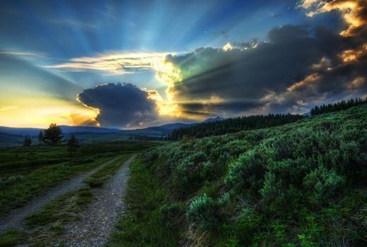 The Dirt Road to the Nuclear Blast Site, wild, sunset, Yellowstone, USA