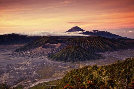 volcano, Bromo, sunrise, Lawang, East Java, Indonesia