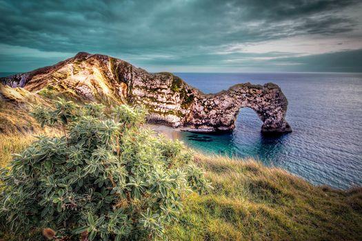 coast, near the Jura, Lulworth in Dorset, England, sea, arch, rock, landscape
