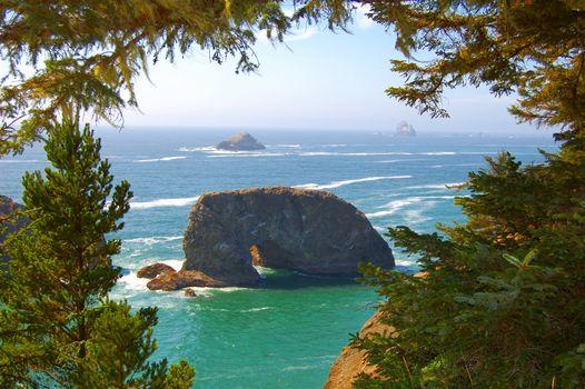 Тихоокеанское побережье, Орегон, океан, скалы, деревья, пейзаж