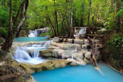 Waterfall, sky, Clouds, trees, sea, landscape, Lake, waterfall