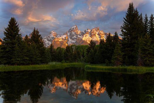 Schwabacher Sunrise, Beaver Creek, Grand Teton, National Park, Wyoming, USA
