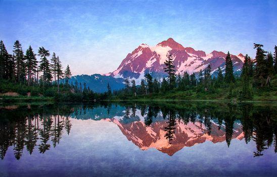 Mount Shuksan, Picture Lake, sunrise, Washington, USA