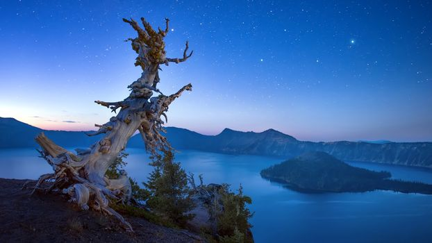 Crater Lake, Oregon, Crater Lake National Park, landscape, night sky
