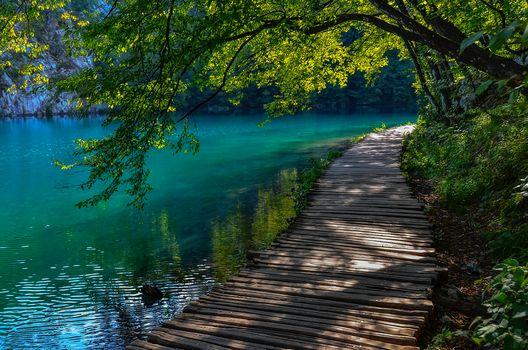 Croatia, river, bridge, landscape