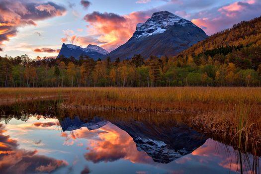 sunrise, reflection, More og Romsdal, norway