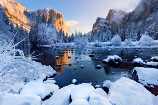 Yosemite National Park, winter, Mountains, river