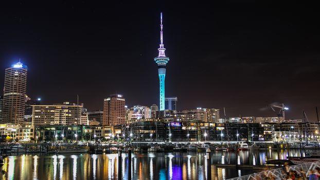 New Zealand, Auckland Sky Tower, night