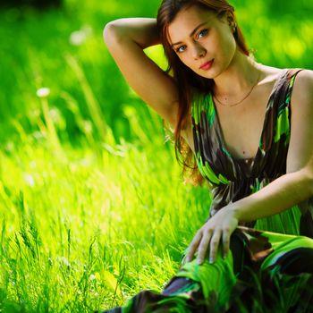 summer, brown hair, girl, greens