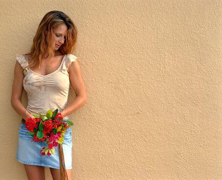 brown hair, background, Flowers