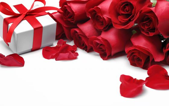 gift, red, roses, Bow, happy, VALENTINE'S, day