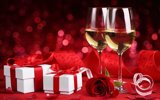 gift, romantic, evening, champagne, glass, red, roses, VALENTINE'S, day