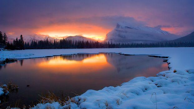 Sunrise Vermilion Lakes, Banff National Park, sunset, landscape