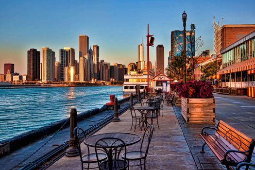 Navy Pier, sunrise, chicago