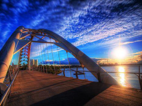 Toronto, sunrise, bridge