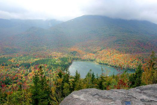 Adirondacks, New York, autumn, lake, forest, trees, landscape