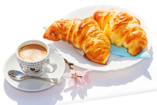 food, crosants, breakfast, cup, coffee, flowers