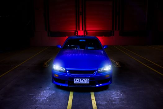 Nissan, band, Front, blue, Nissan, headlights, skyline
