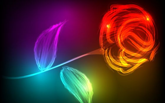 rose, luminescent, red, rose, red