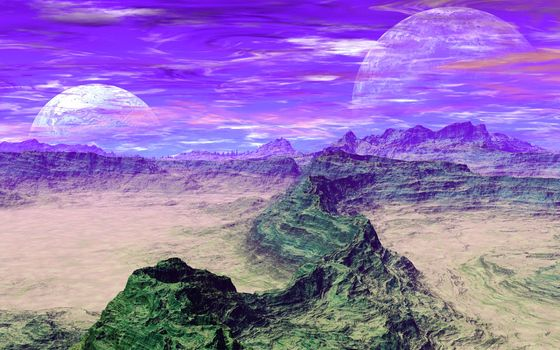 sky, planet, clouds, Mountains
